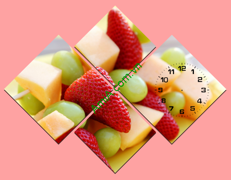 Mẫu tranh đồng hồ hoa quả trang trí bàn ăn nhỏ