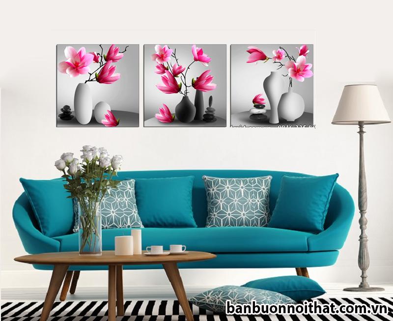 Tranh treo tường hiện đại hoa mộc lan trang trí phòng khách