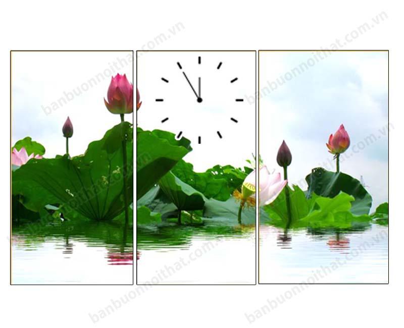 Tranh đồng hồ hoa sen ghép 3 tấm in ép gỗ kích thước nhỏ trang trí nhà chung cư