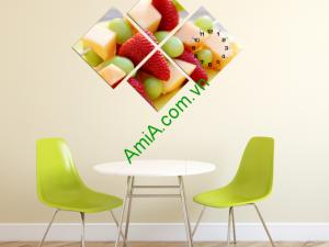 Mẫu tranh đồng hồ hoa quả treo bàn ăn
