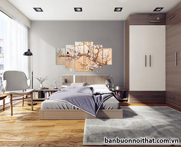 Tranh treo tường hiện đại mùa xuân về trang trí phòng ngủ hiện đại