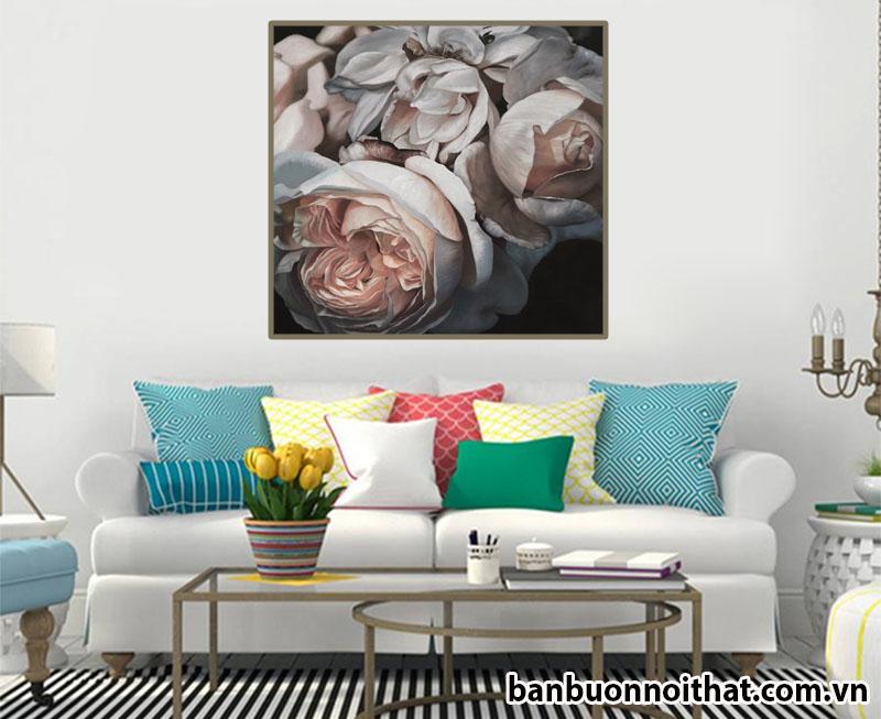 Tranh treo tường hoa hồng hiện đại trang trí phòng khách phong cách Bắc Âu