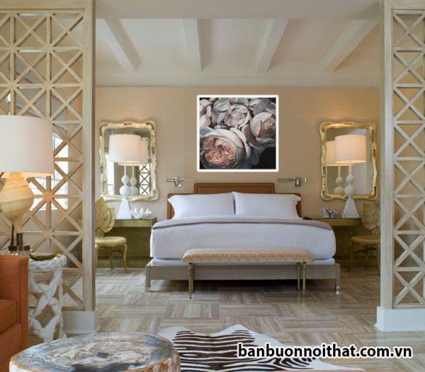 Tranh treo tường hiện địa hoa hồng đẹp trang trí phòng khách, phòng ngủ