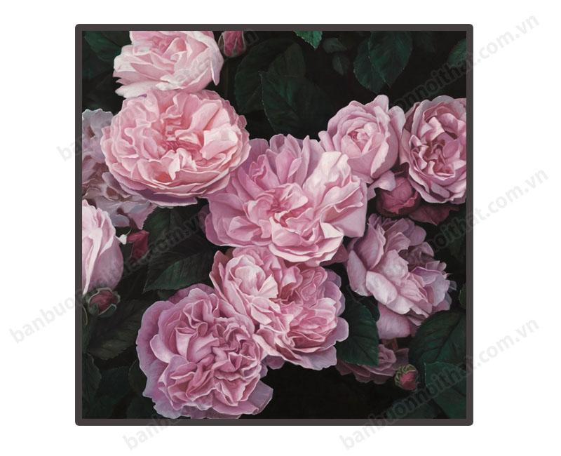 Mẫu tranh canvas hoa hồng trang trí shop thời trang hoặc phòng ngủ nữ