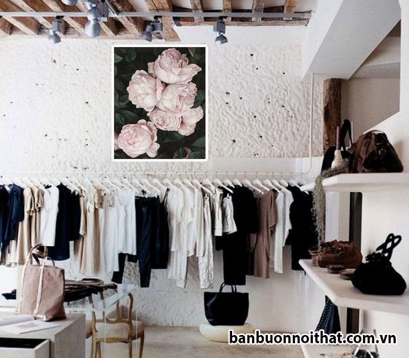 Tranh treo tường hiện đại hoa hồng trang trí tường trắng đẹp