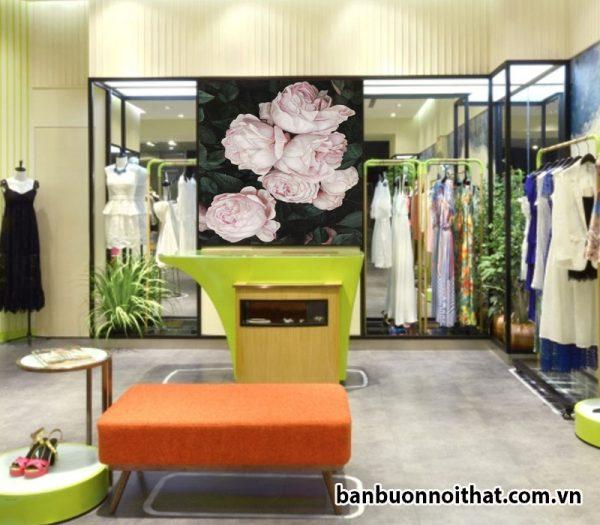 Tranh canvas hoa hồng trang trí ghop thời trang, cửa hàng quần áo nữ