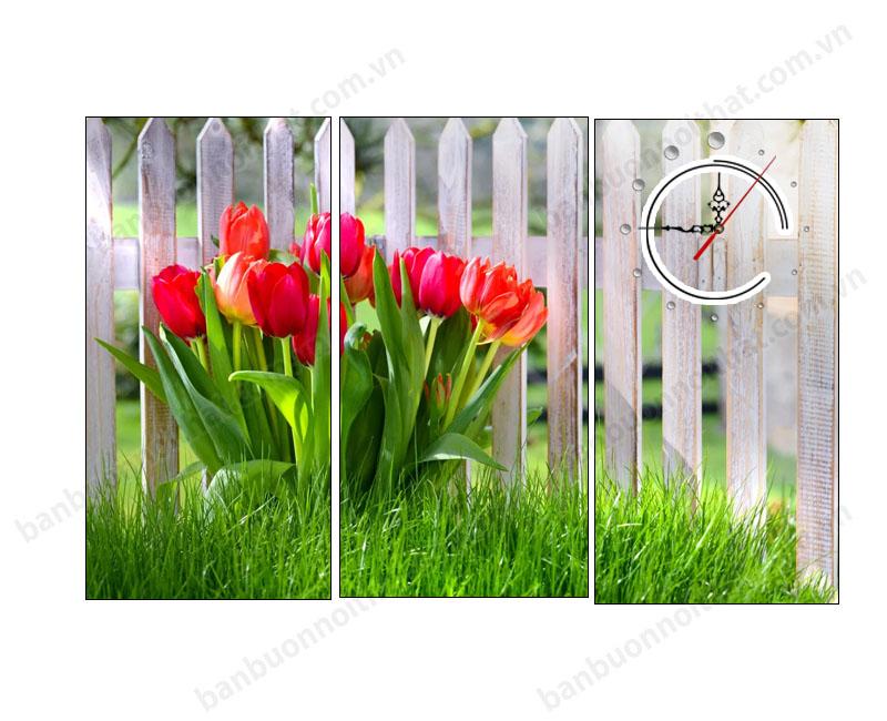 Tranh đồng hồ hoa tulip ghép 3 miếng đẹp