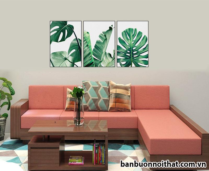 Mẫu tranh canvas trang trí kết hợp sofa gỗ trẻ trung hiện đại