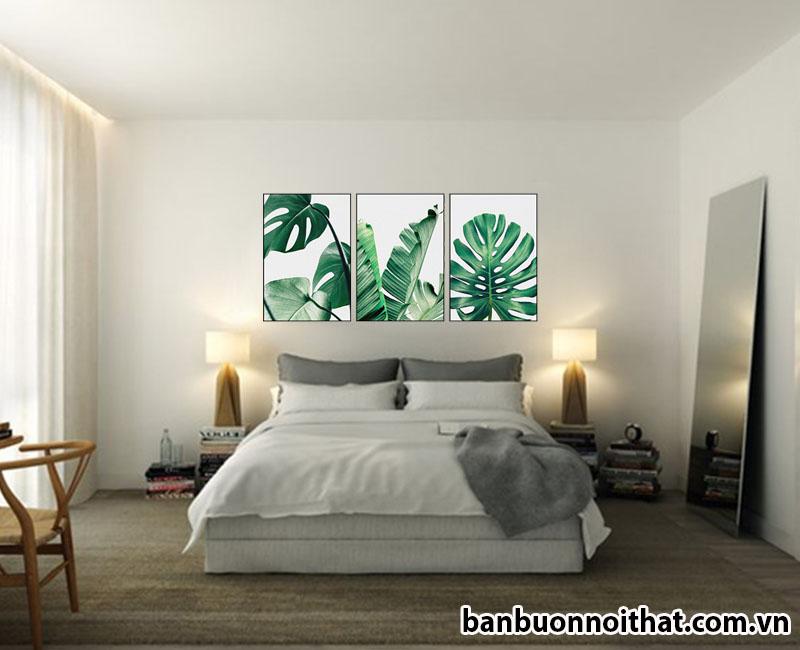 Tranh canvas lá cây trang trí phòng ngủ hiện đại