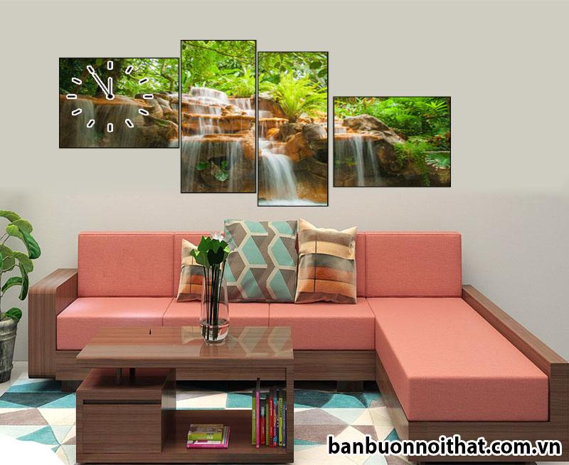 Tranh đồng hồ phong thủy thác nước treo sau sofa gỗ