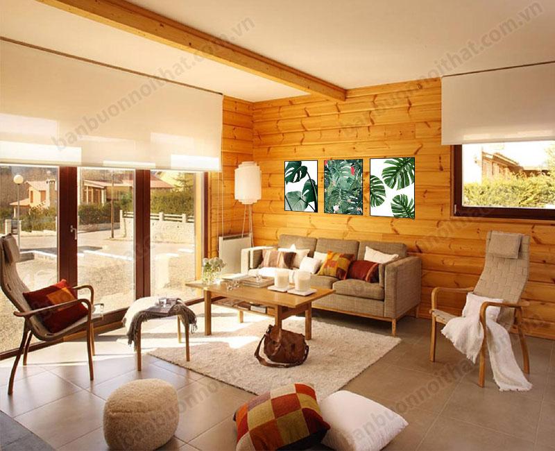 Gỗ trong thiết kế phòng khách phong cách Bắc Âu giúp phòng luôn có cảm giác ấm cúng