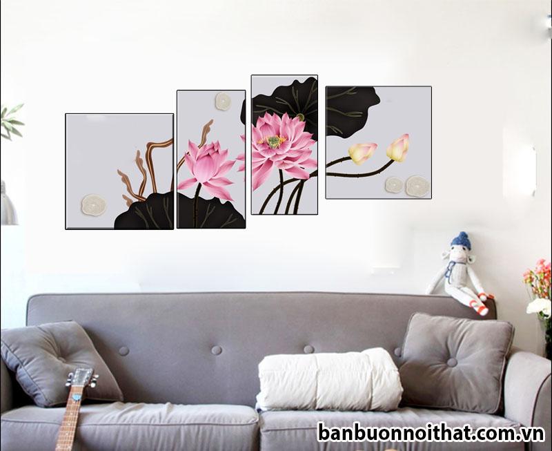 Tranh hoa sen phong cách hiện đại HH07 thích hợp kết hợp cùng nội thất màu xám