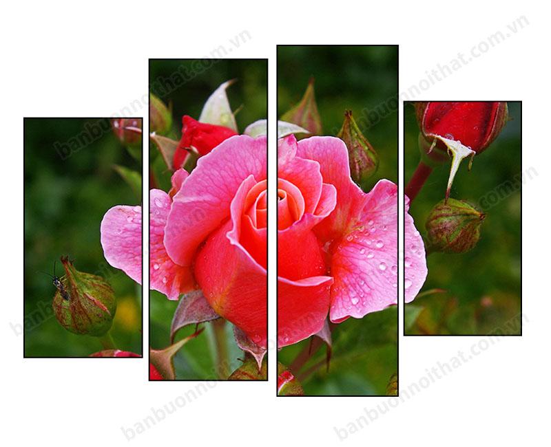 Mẫu tranh ghép bộ không đồng hồ hoa hồng hiện đại, màu sắc sống động