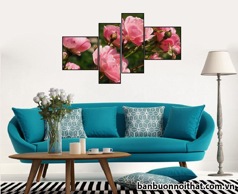 Tranh hoa hồng ghép bộ không đồng hồ treo sau văng
