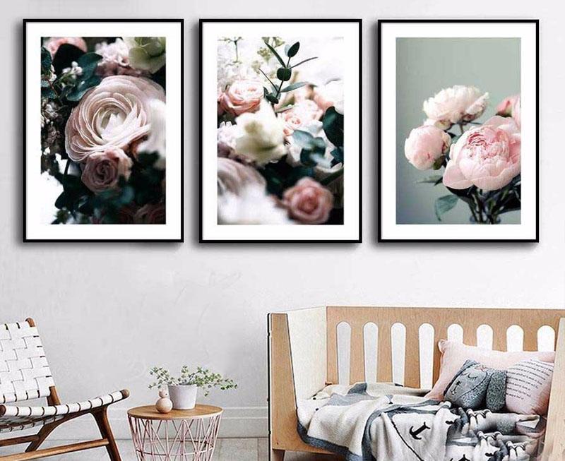 Tranh in canvas hoa hồng trang trí phong cách hiện đại
