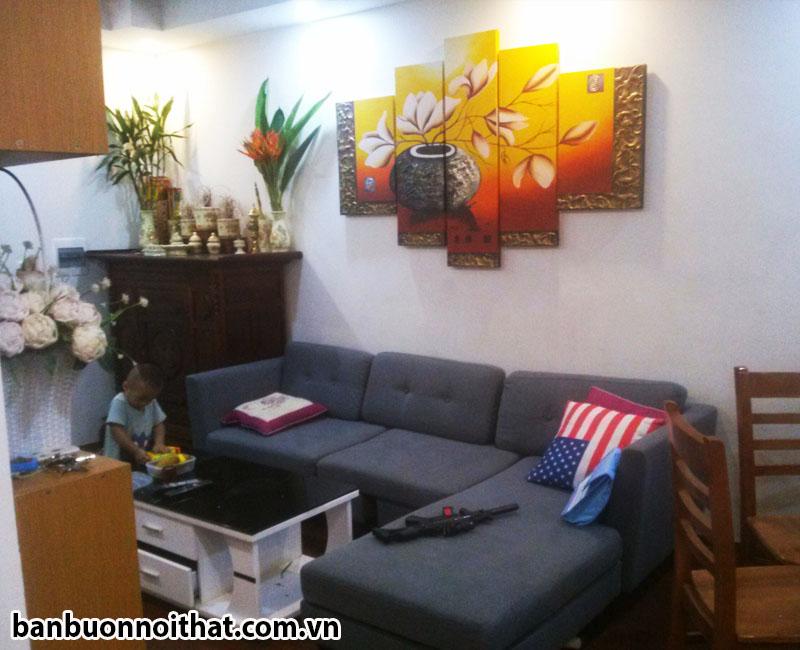 Bộ tranh bình hoa ghép 5 tấm sơn dầu vẽ tay trang trí cùng sofa nỉ chữ L