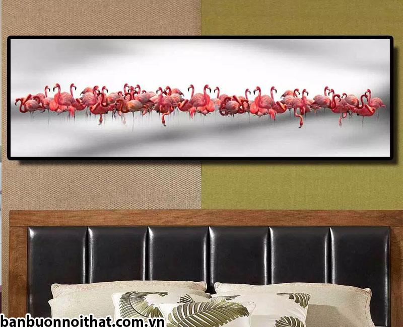 Tranh in canvas 1 tấm khổ lớn trang trí đầu giường phòng khách sạn đẹp