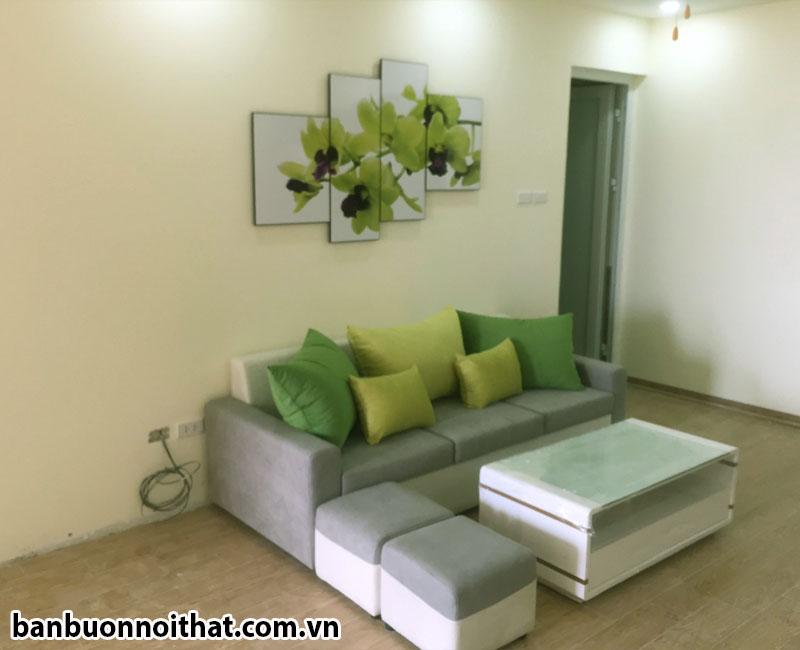 Tranh hoa lan ghép 4 miếng trang trí phòng khách đẹp kết hợp văng nỉ