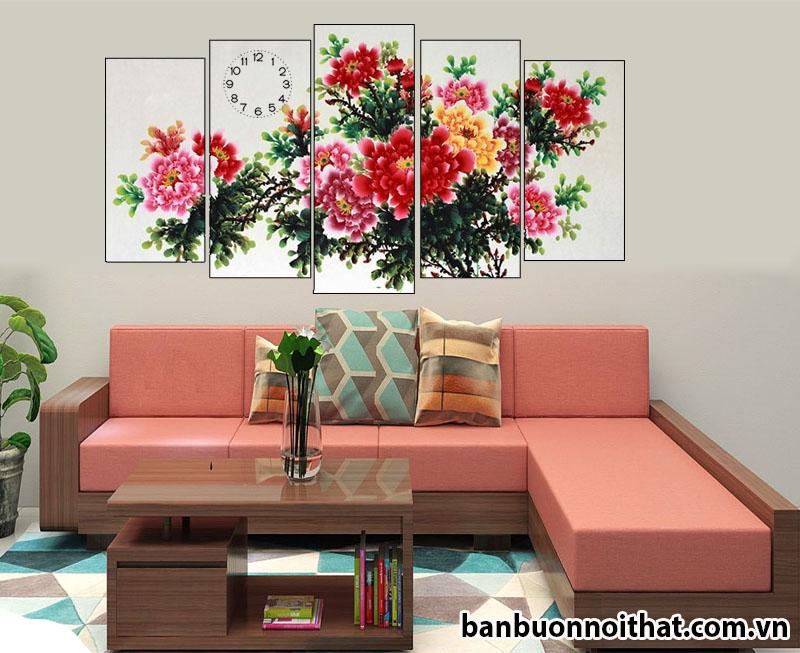 Mẫu tranh đồng hồ phong thủy hoa mẫu đơn trang trí phòng khách đẹp