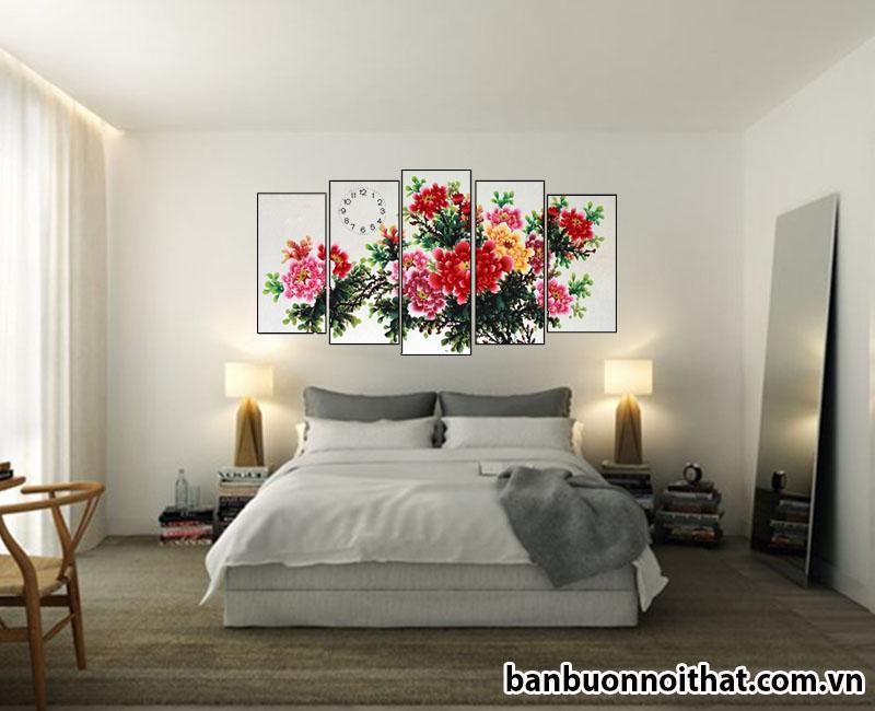 Tranh đồng hồ phong thủy hoa mẫu đơn ghép hiện đại trang trí phòng ngủ - Có thể bỏ đồng hồ