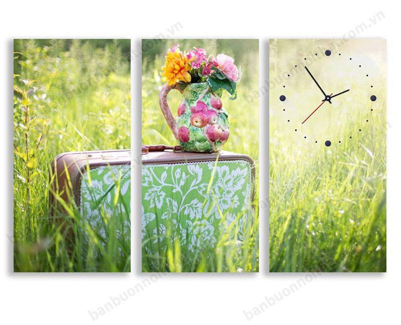 Mẫu tranh đồng hồ treo tường hiện đại phong cách Vintage