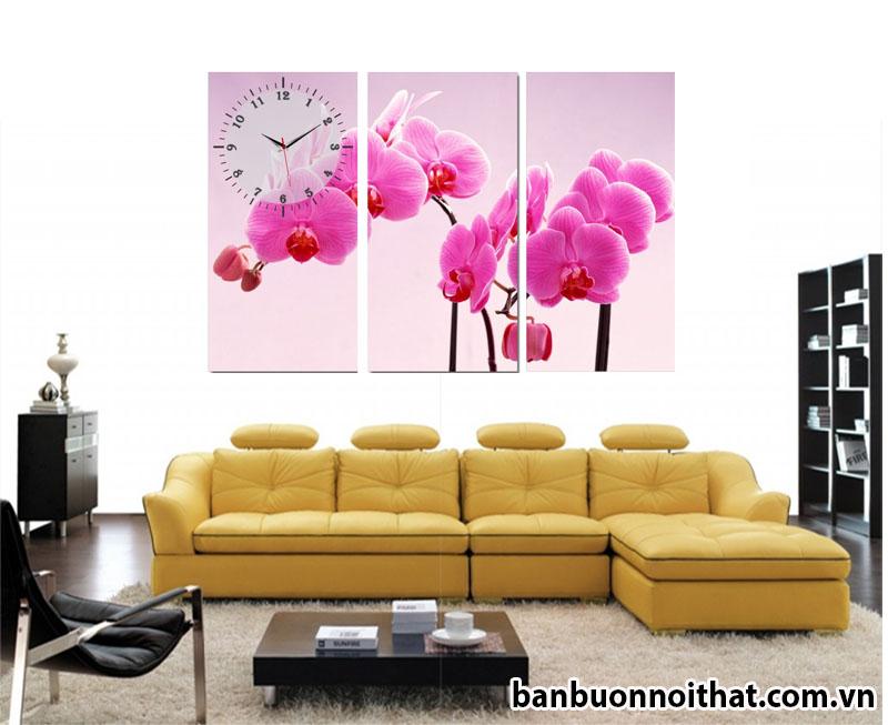 Tranh đồng hồ treo tường hoa lan tím trang trí phòng khách hiện đại