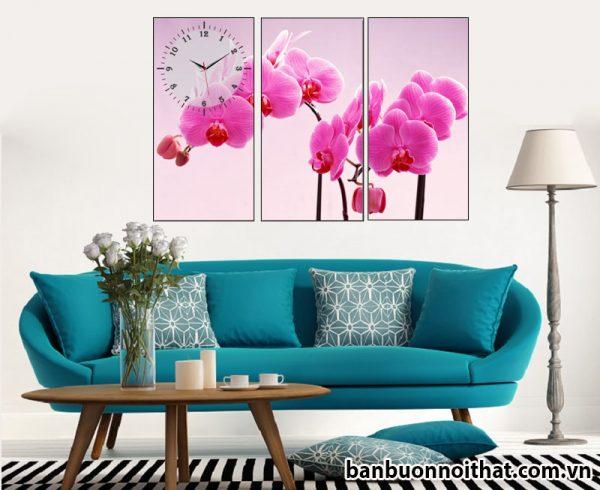 Mẫu tranh đồng hồ treo tường hoa lan tím đẹp