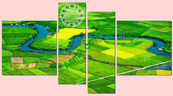 Tranh đồng hồ phong cảnh Việt Nam