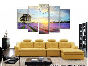Mẫu tranh đồng hồ hoa oải hương đẹp trang trí phòng khách, phòng ngủ