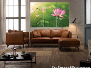 Mẫu tranh đồng hồ treo tường hoa sen hiện đại trang trí phòng khách may mắn, tinh tế
