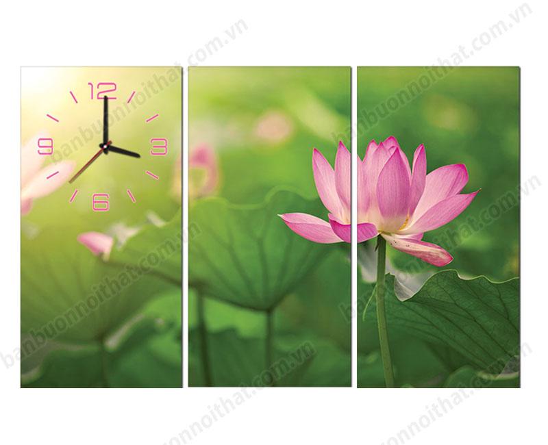 Mẫu tranh đồng hồ treo tường hoa sen trang trí phòng khách, phòng đọc sách