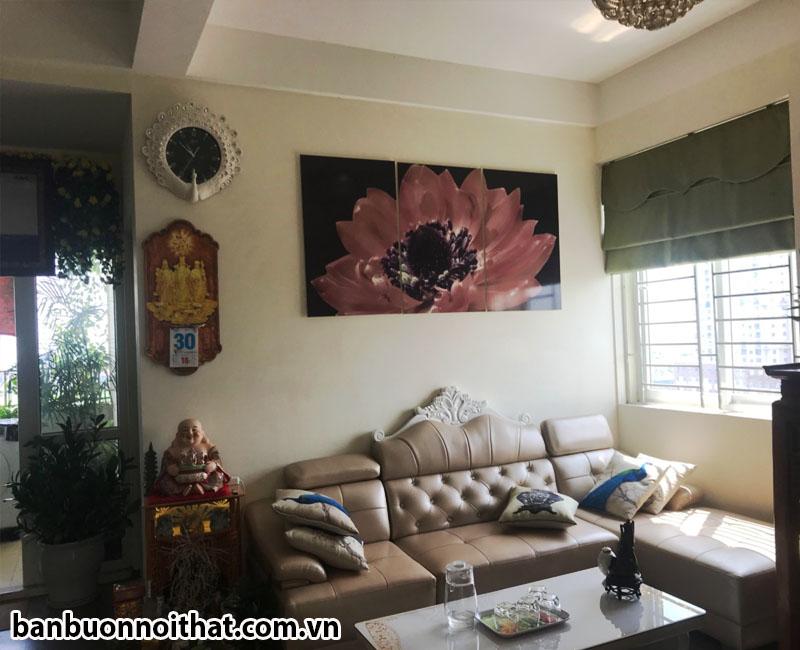 Tranh hoa sen ghép 3 miếng hiện đại trang trí phòng khách hoặc phòng đọc sách, phòng thiền