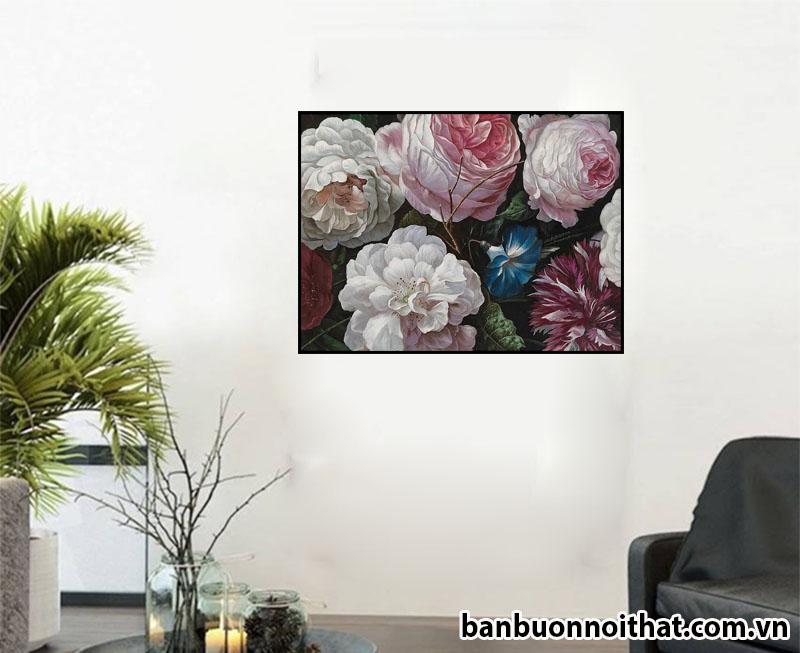 Tranh treo tường hoa hồng trang trí hành lang phòng khách trẻ trung