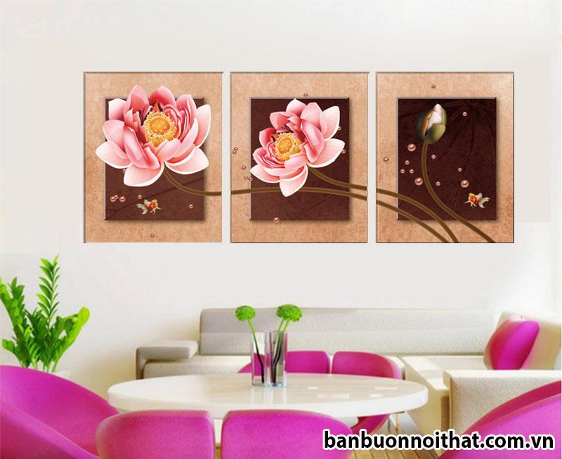 Tranh hoa sen ghép 3 tấm đẹp trang trí văn phòng làm việc