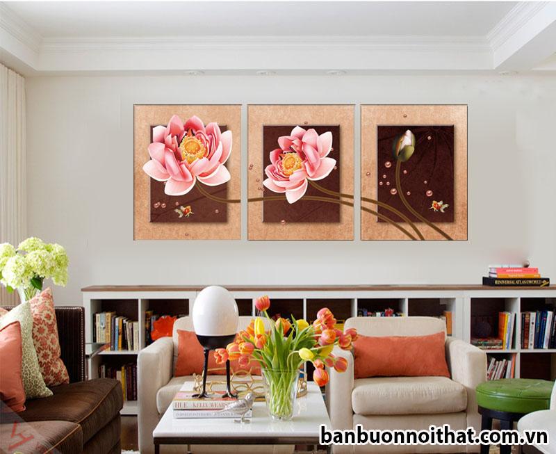 Tranh ghép bộ hoa sen hiện đại trang trí phòng đọc sách