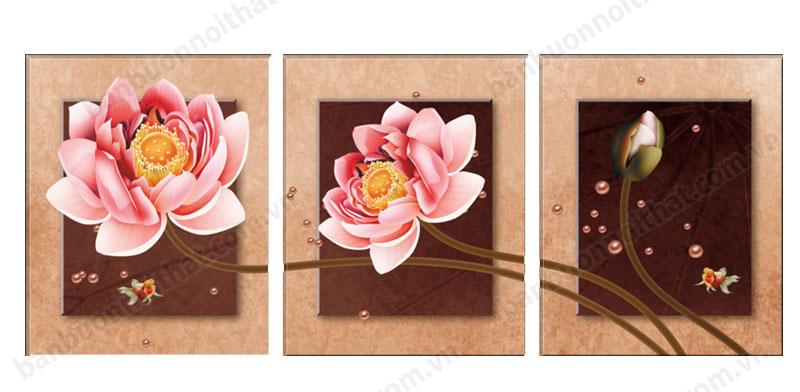 Tranh ghép 3 tấm hoa sen hiện đại trang trí phòng khách