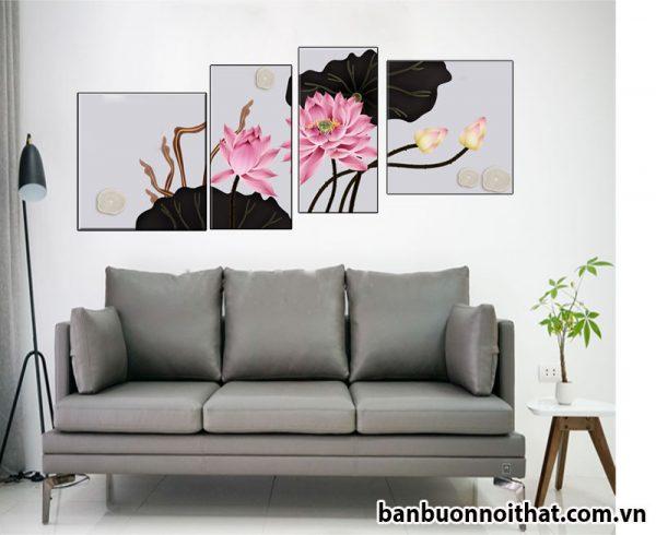 Mẫu tranh hoa sen ghép bộ hiện đại đẹp, trang trí phòng khách, phòng ngủ