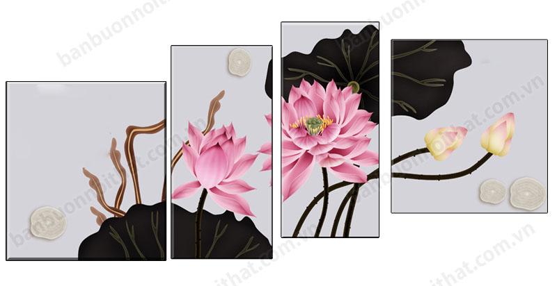 Mẫu tranh hoa sen đẹp trang trí tường hiện đại
