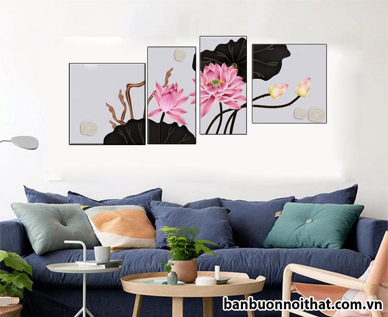 Tranh hoa sen trang trí tường phong cách hiện đại