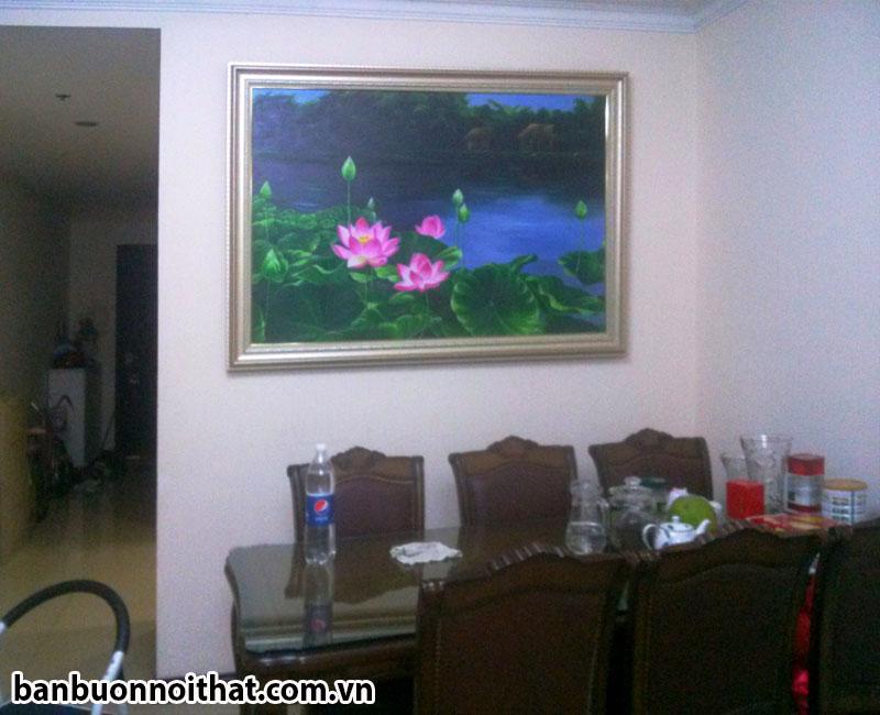 Tranh hồ hoa sen vẽ tay trang trí phòng ăn đẹp