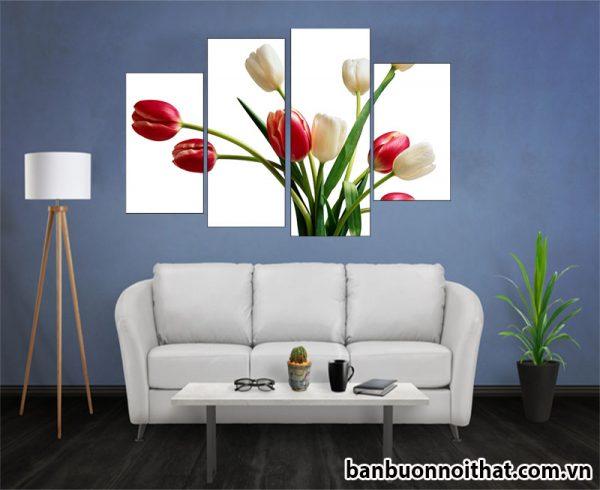 Tranh không đồng hồ hoa Tulip hiện đại trang trí phòng khách, phòng ngủ