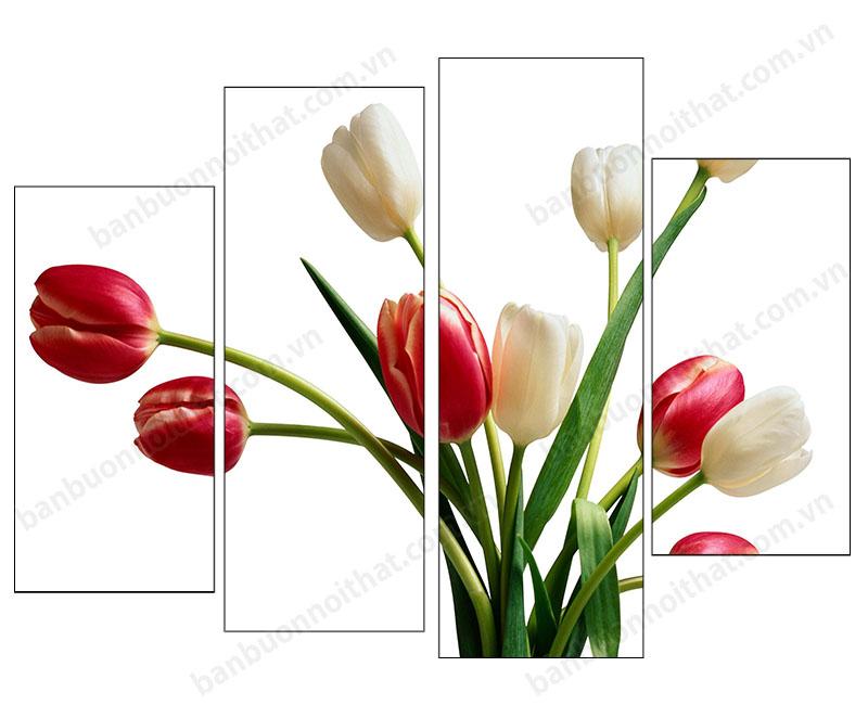 Tranh hoa tulip TL02 nằm trong bộ sưu tập tranh đồng hồ hoa tulip của Amia