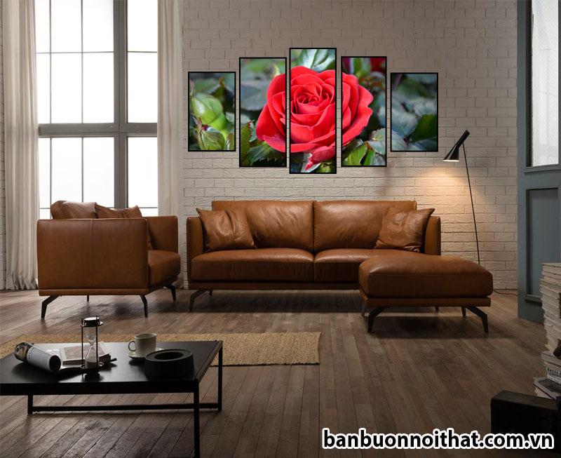 Tranh hoa hồng ghép bộ 5 miếng treo sau sofa da