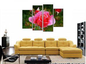 Tranh hoa hồng ghép bộ hiện đại không đồng hồ
