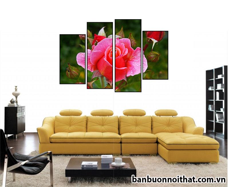 Mẫu tranh hoa hồng ghép hiện đại treo sau ghế sofa da đẹp