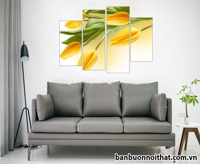 Tranh hao tulip kết hợp văng da nhỏ xinh xắn