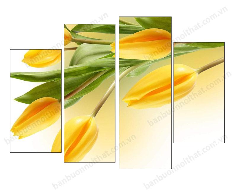 Mẫu tranh hoa Tulip ghép bộ không đồng hồ