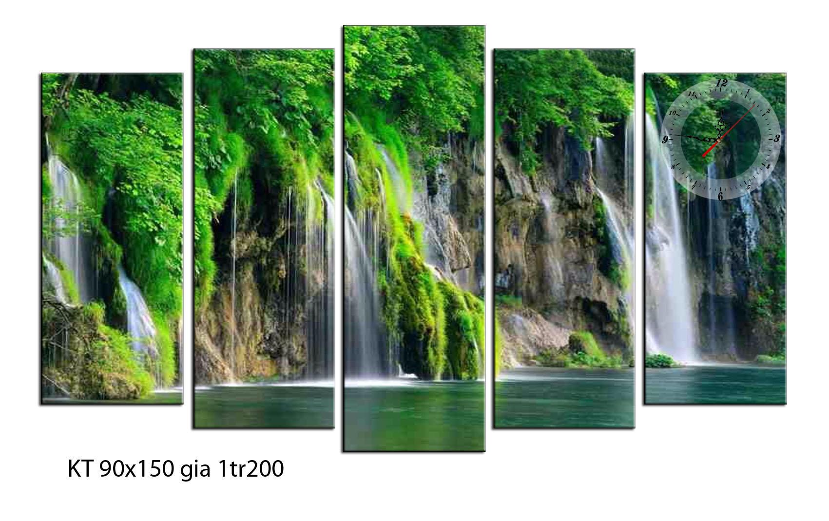TN02 mẫu tranh đồng hồ phong cảnh thác nước đẹp