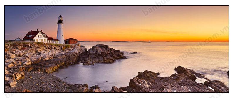 Tranh hiện đại ngọn hải đăng trên biển trang trí phòng khách sạn 5 sao
