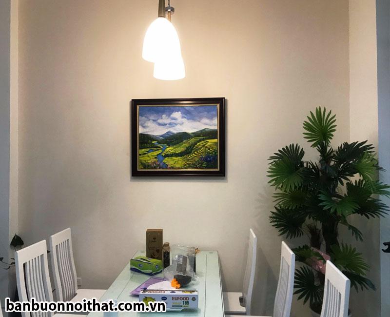 Khung tranh vẽ cảnh ruộng bậc thang Tây Bắc trang trí phòng ăn đẹp